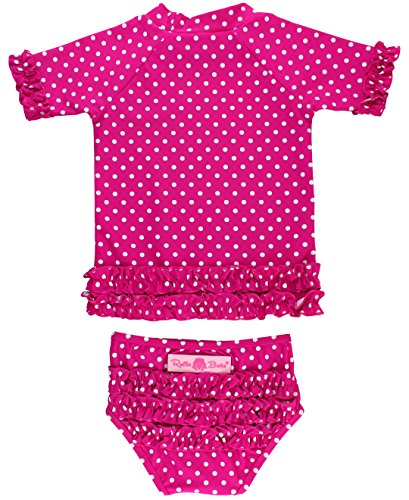 RuffleButts Girls Rash Guard 2-Piece Swimsuit Set - Berry Polka Dot Bikini with UPF 50+ Sun Protection - 3T