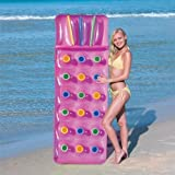 Bestway Inflatable 18 Pocket Fashion Sun Lounger Lilo Swimming Pool Air Bed Beach Mat 2 Colours : Pink Or Blue (Pink)
