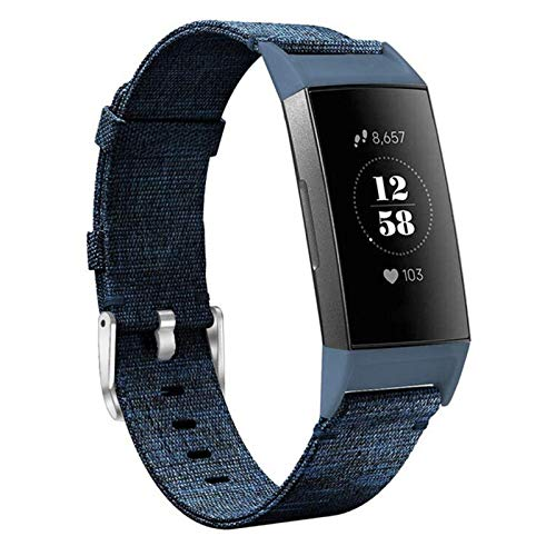 hooroor Woven Fabric Breathable Replacement Bands Compatible for Fitbit Charge 3 and Charge 3 SE Fitness Activity Tracker, Soft Accessory Sports Band Wristbands Strap Women Men (Denim Blue, Small)
