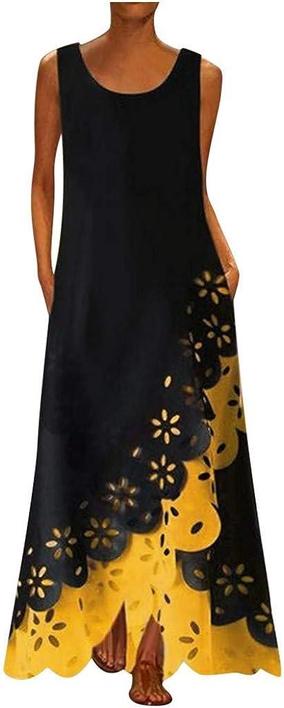 Muranba Plus Size Dress, Women Summer Sleeveless Print Linen Strappy Loose Boho Long Plus Size Dress