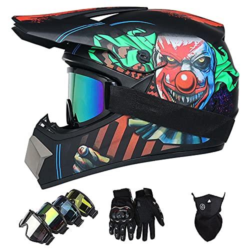 Casco Moto Niño, ECE DOT Homologado Casco Motocross Infantil y Adultos Casco Enduro Integral MTB (con Guantes Gafas Máscara) Motocicleta Cascos Hombre para Trail BMX Quad Enduro Off Road ATV - Payaso