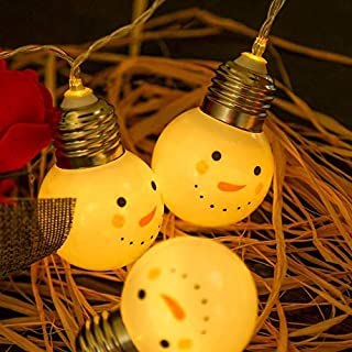 Armfer-household supply Led Christmas String Lights Decoration 10 LEDs White Snowman Shape Fairy Lamp Battery Operated Flexible Light for Valentine's Wedding Birthday Holiday Party Favors 59