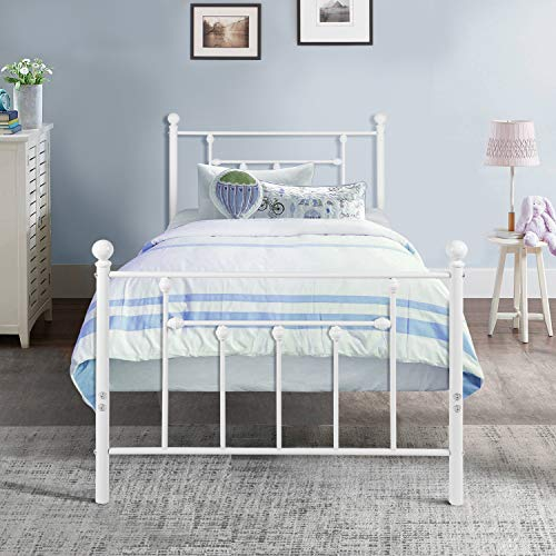 Twin Size Bed Frame, VECELO Metal Platform Mattress Foundation / Box Spring Replacement with Headboard Victorian Style
