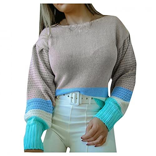 SHIZUANYUE - Sudadera de manga larga para mujer, cuello redondo, blusa, jersey, jersey de punto extragrande, ligera, de punto, cmoda, informal, gris, M