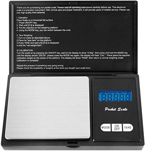 500g/0,01g Taschenwaage - Ascher Digitale Taschenwaage, 500 x 0,01 g, Taschenwaage Feinwaage Digitalwaage Goldwaage Münzwaage