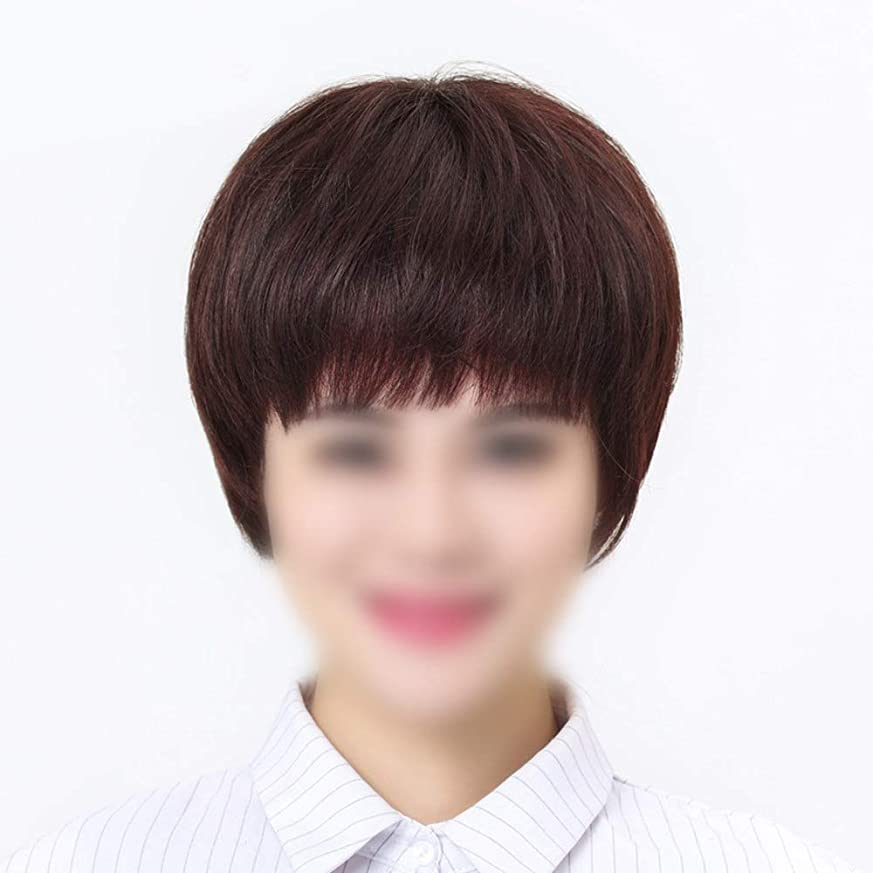 イディオムアレキサンダーグラハムベル成功するHOHYLLYA 女性のための手織りニットウィッグ本物の髪ウィッグショートストレートヘアーウィッグファッションウィッグ (色 : Natural black, サイズ : Hand-woven)