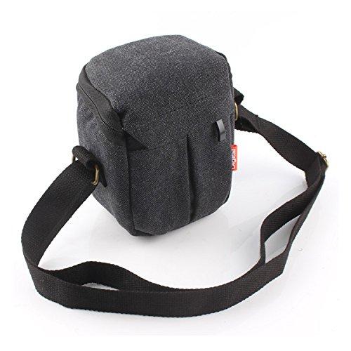 CEARI DSLR Camera Water Resistant Canvas Camera Case Bag for Canon Powershot G1X Mark II G15 G16 G5X G7X SX160 SX170 SX700 Digital SLR Camera - Black
