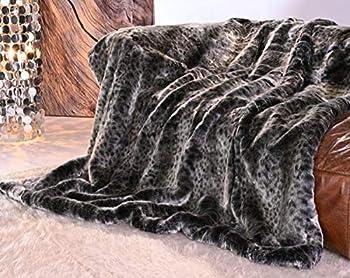 Couverture en fourrure de qualité supérieure - Motif chat sauvage - Gris - 150 x 200 cm