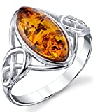 Sterling Silver Baltic Amber Celtic Design Ring with Cognac Color Marquise Shape Center 7