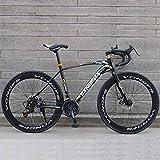 Road Bike 700C Wheels 21 Speed Mountain Bikes, Dual Disc Brake City Road Bicycle, Mens Road Racing Bike High Carbon Steel Frame for Women, 26 Inches-Schwarzes Golden