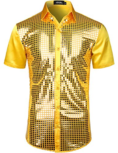 JOGAL Herren Pailletten Hemd 70er Kurzarm Disco Party Kostüm Large Gelb