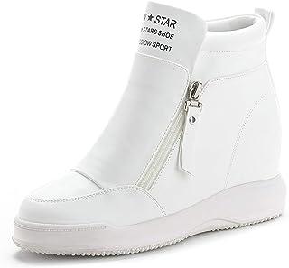 [幸福マーケット] インヒール スニーカー ヒール サイドジッパー ハイカット シークレット 厚底 ホワイト ブラック カジュアルシューズ 靴 通気性 快適性 歩きやすい 滑り止め 防水 クッション性 ランニング 可愛い