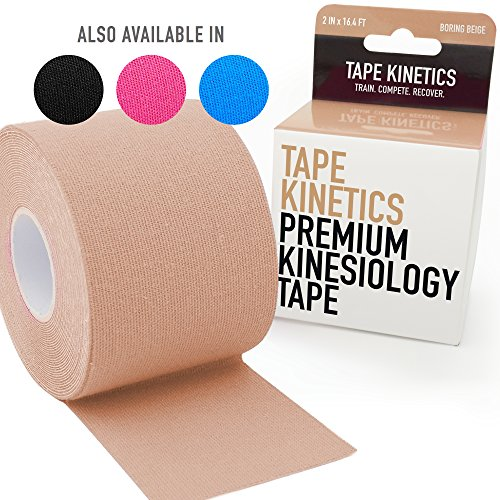Tape Kinetik Premium Kinesiology Tape | 5,1cm X 16.4ft | Wasserdicht & latexfrei (schwarz, pink, blau oder beige), Unisex Herren Damen, Boring Beige