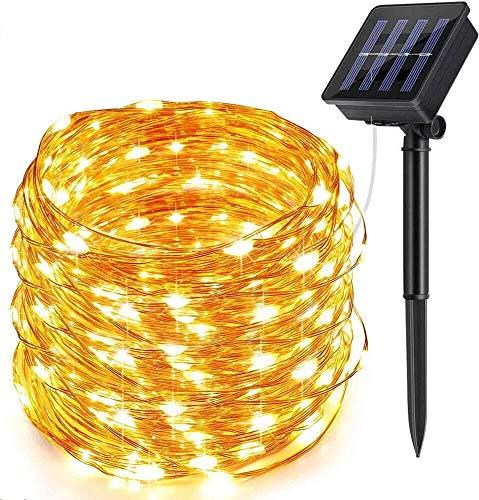 Solar Lichterkette Aussen, ECOWHO Warmweiß 22M 200 LEDs Kupferdraht lichterkette, 8 Modi IP65 Wasserdicht Solarlichterkette, Außen...