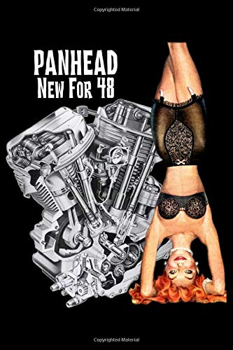 Panhead New for 48: Harley Davidson Pan Head Motorcycle bikini PinUp Engine Blank Lined College Ruled 100 Page Notebook