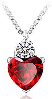 IDOXE Queen of Hearts Necklace 925 Sterling Silver Chain January Birthstone Evie Red Heart Toy Princess Halloween Accessories Jewelry Valentine's Gift for Her