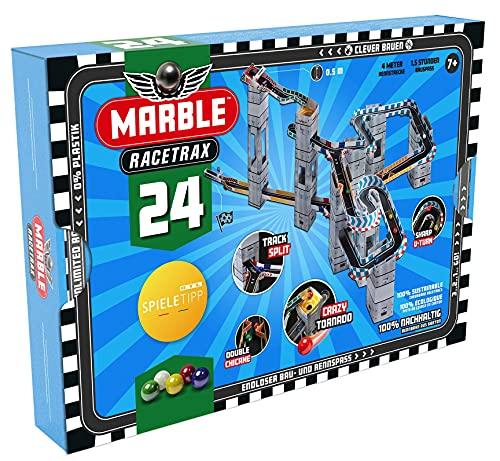 Marble Racetrax 869003 - Murmel Mania Rennbahn Starter Set 24 teilig, Kugelbahn mit 4 m Laufstrecke & 5 Murmeln, Murmelbahn Bastelset, Bauset aus FSC Karton, Konstruktionsset für Kinder ab 7 Jahre