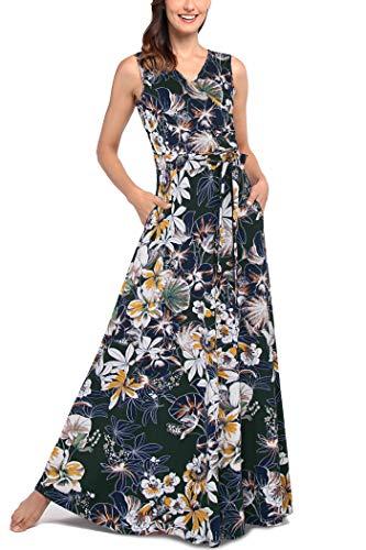 Comila Women's Summer V Neck Floral Maxi Dress Casual Long Dresses with Pockets Fashion Sleeveless Wrap V Loose Fitting Flowy Wonderful Dress Dark Green XL US(16/18) (Apparel)