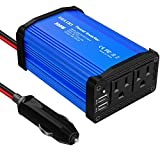 Upgraded 300W Power Inverter, DC 12V to 110V AC Car Power Converter with 4.8A Dual USB Ports Car Charger Adapter (Blue)