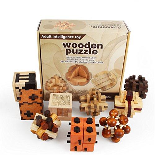 Joyeee 9 Piezas Cubo 3D Rompecabezas de Madera Juego Puzle #2 - Desafiar su Pensamiento lógico Decoración