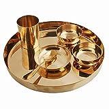 Juego de cena de bronce puro Thali tradicional Hotel Restaurante Diwali regalo conjunto de 6