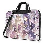 Yusanbaihuodian - Bolso bandolera para ordenador portátil Anime Konohana Kitan, bolsas de bandolera para ordenador portátil con correa ajustable y bolsas de trabajo de 14 pulgadas