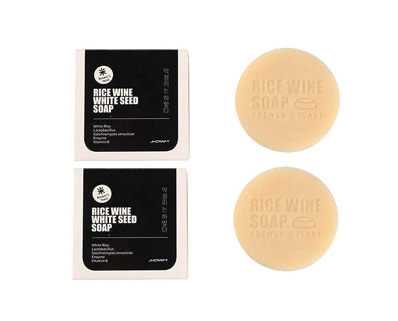 原点くそー錫JKCRAFT RICEWINE WHITE SEED SOAP マッコリ酵母石鹸,無添加,無刺激,天然洗顔石鹸 2pcs [並行輸入品]