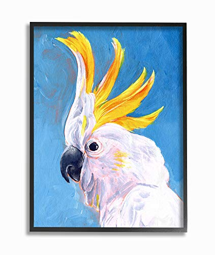 Stupell Industries Parrot Mohawk Blue Yellow Animal Bird Painting Black Framed Wall Art, 16 x 20, Design by Artist Jennifer Paxton Parker