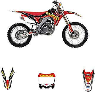 Customized Number Full GRAPHICS BACKGROUNDS DECAL STICKER Set For Honda CRF250R CRF250 2014-2017 CRF 450 CRF450R 2013-2016 (As shown)