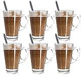 JPN 6PC Premium Latte Glasses Mugs 250ml & 6 Spoons Set Ideal for Espresso, Cappuccino, Coffee, Tea, Hot Chocolate, Hot Drinks, Tassimo & Dolce Gusto Coffee Machines 8.8oz
