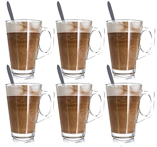 JPN 6PC Premium Latte Glasses Mugs 250ml & 6 Spoons Set Ideal for Espresso, Cappuccino, Coffee, Tea, Hot Chocolate, Hot Drinks, Tassimo & Dolce Gusto Coffee Machines 8.8oz