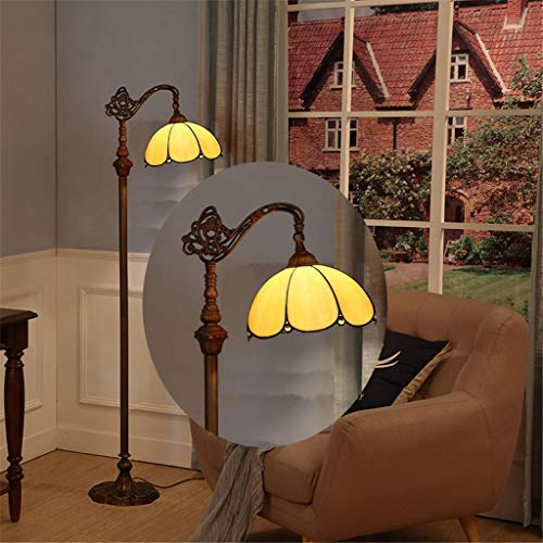 Good thing 12-Zoll-Tiffany-Stehlampe Bunte Glasmalerei-Stehlampe Schlafzimmer-Stehlampe Exquisite Blütenblatt-Musterlampe