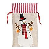Sureh 3 bolsas de cordón grandes de arpillera de Papá Noel, bolsas personalizadas de Navidad, grandes bolsas de lona, bolsas de golosinas, bolsas de regalo