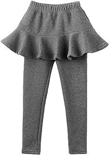 MODNTOGA Kids Baby Girls Footless Leggings with Ruffle Tutu Skirt Pants 2-7Years