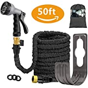 Liwiner 50 FT Expandable Garden Water Hose Pipe/Magic Expanding Flexible Hose with Brass Fittings Valve 8 Function Spray Gun Nozzle Wall Holder/Storage Bag … (Black)