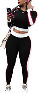 Women 2 Piece Outfits Tracksuit Stripe Patchwork Long Sleeve Top Slim Fit Long Pants Sportwear with Pockets