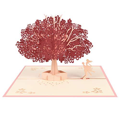 Vicloon Tarjetas de Felicitación, Rojo Sakura Romántica Tarjeta Cumpleaños con Sobre, Tarjeta de San Valentín, Tarjeta de Felicitación Pop Up 3D, Tarjeta de Felicitación de Boda e Invitación