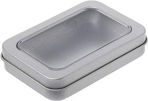 Tebatu Storage Box,Rectangular Tin Silver Case Organizer Half Clear Window Lid