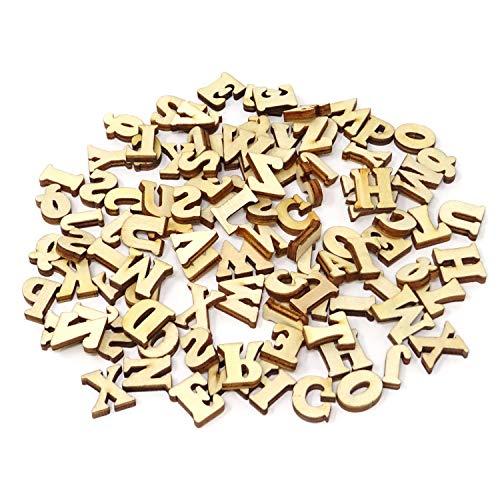 Honbay 100PCS 15mm/0.6inch Natural Wooden Letters for DIY Crafts