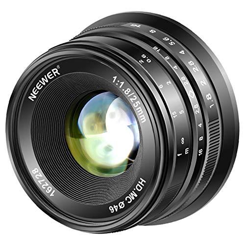 Neewer 25mm f/1.8 Prime Lente Fija Gran Angular de Gran Apertura Enfoque Manual Compatible con Cámaras Olympus Panasonic Micro 4/3 Mount Mirrorless con Sensor APS-C Live Mos