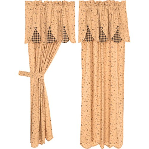 VHC Brands Maisie Short Panel Attached Scalloped Layered Valance Set of 2 63x36 Country Curtains, Tan