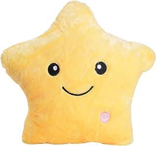 Cojín Almohada LED Estrella, laamei Felpa Juguetes Muñecas Decorativo con Forma de Estrella Luminoso Almohadas Cojines Infantiles Luz Nocturna para Ñiños y Niñas