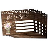 25 Let's Celebrate invites. Blank rustic, wood, mason jar, vintage, floral, string lights bridal shower or luncheon, rehearsal dinner, baby shower, graduation party invitations. Envelopes included!