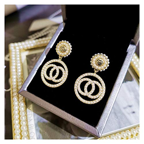 SSN Luxury Rhinestone Geometric Drop Earrings for Women Girls Square Dangle Earring Party Jewelry Gifts Gold Trendy (Color : A)