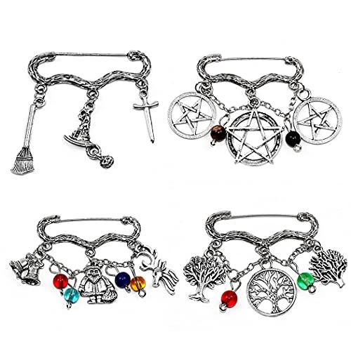 Zoylink Broche De Navidad Pin Metal 4pcs Aleación Moda Decorativo Personalizado Broche De Vacaciones Cardigan Broche