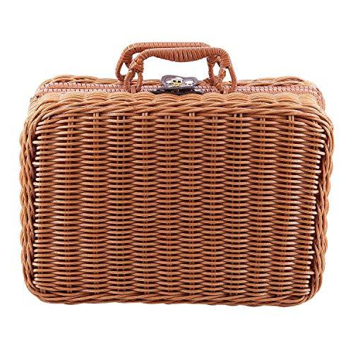 ACAMPTAR Reise Picknick Korb Hand Gemachte Wicker Aufbewahrungs Koffer Vintage Koffer Requisiten Box Weben Bambus Boxen Au?en Rattan Organizer