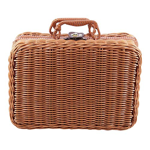 WOVELOT Travel Picnic Basket Handmade Wicker Storage Case Vintage Suitcase Props Bo Weave Bamboo Boxes Outdoor Rattan Organizer