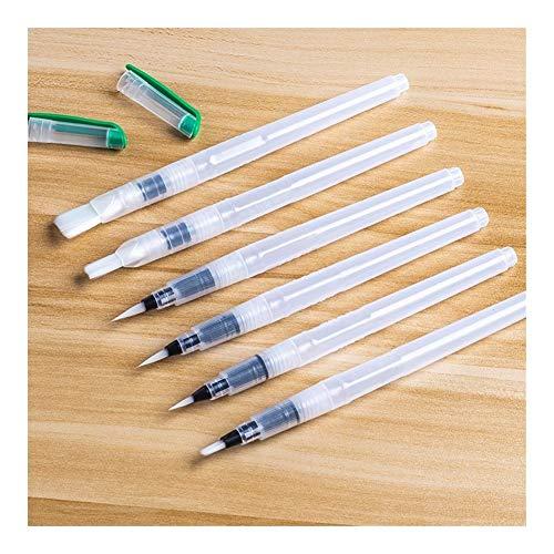 GGLLBL 6 Pièces Peinture Portable Couleur Pinceau Eau Pinceau Crayon Doux Aquarelle Pinceau for la Peinture débutant Dessin Art Supplies (Color : White)