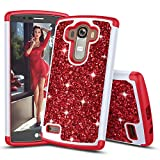 TILL for LG G4 Case, TILL Luxury [Sparkle Sequins] Crystal Bling Glitter Shiny Case Hybrid Layer TPU Soft Inner Hard PC Protective Cute Case Cover Defender for LG G4 H815 [Red]