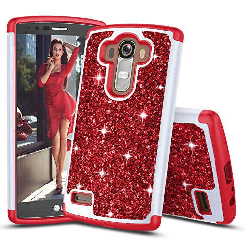 TILL for LG G4 Case, TILL Luxury [Sparkle Sequins] LG G4 H810 Bling Shiny Color Glitter Fashion Case Dual Layer TPU Soft Inner Hard PC Protective Cute Case Cover Shell for LG4 LS991 H811 5.5INCH [Red]